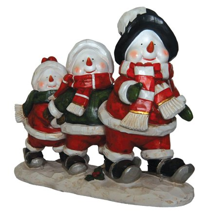 Snowmen Skiing LED Light Figurine Holiday Decor Polyresin 17.75
