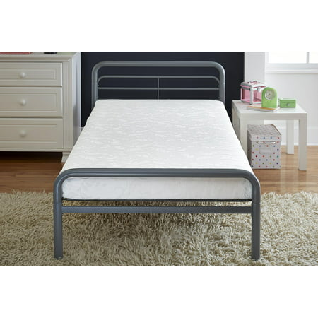 Value 6 Inch Polyester Filled Bunk Bed Mattress with Jacquard Cover, Twin, White