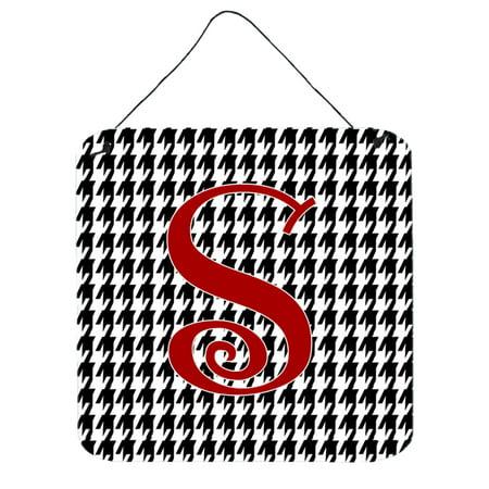 Letter S Initial Monogram - Houndstooth Black Wall or Door Hanging Prints - S Monogram