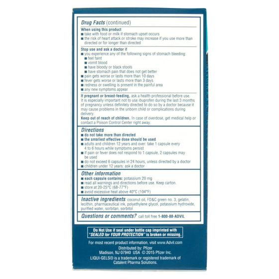 Advil Liqui Gels 160 Count Pain Reliever Fever Reducer Liquid