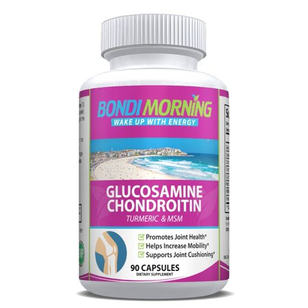 Glucosamine Chondroitin Dietary Supplement - with Turmeric & MSM, Potent, Effective, Natural, Improve Your Health, Relieve Joint Pains & Muscle Stiffness, Enhance Mobility. 90 (Best Supplement For Joint Pain And Stiffness)