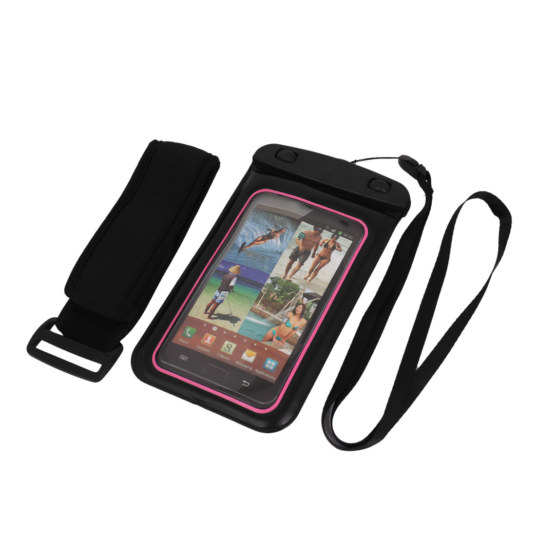 Unique Bargains Underwater Waterproof Case Dry Bag Cover Pouch Sleeve Black Pink for 5.5  Phone
