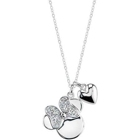 Disney Heart Crystal Silver-Tone I Love Minnie Necklace, 18