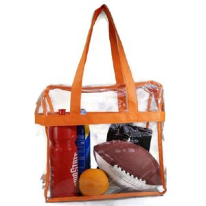 Deluxe Clear Tote Bag w/Zipper, NFL Stadium Approved Security Bag, Clear Vinyl, Shoulder Straps, Black Trim, Heavy Duty ()