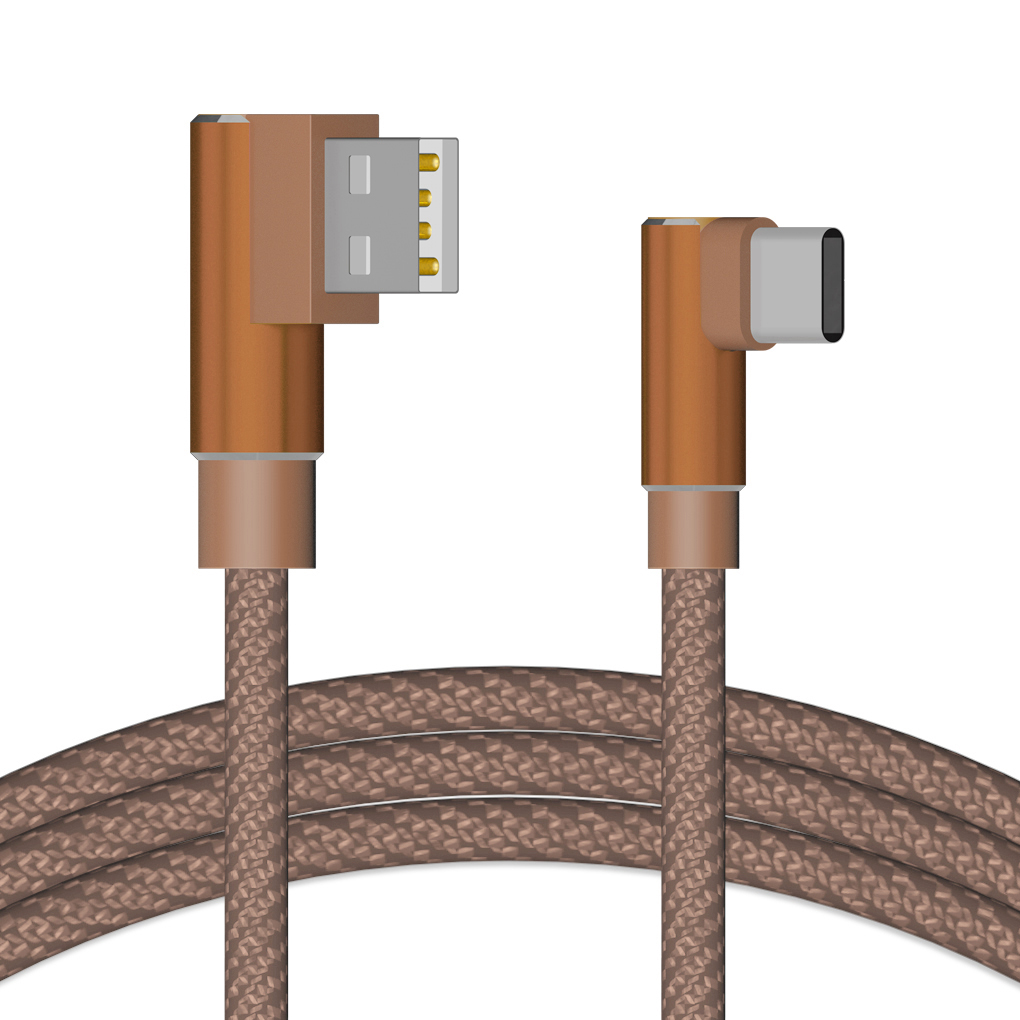 Double Elbow USB Cable 2A Sync Data Nylon Woven TPE High Speed Charging Cable for Type-C