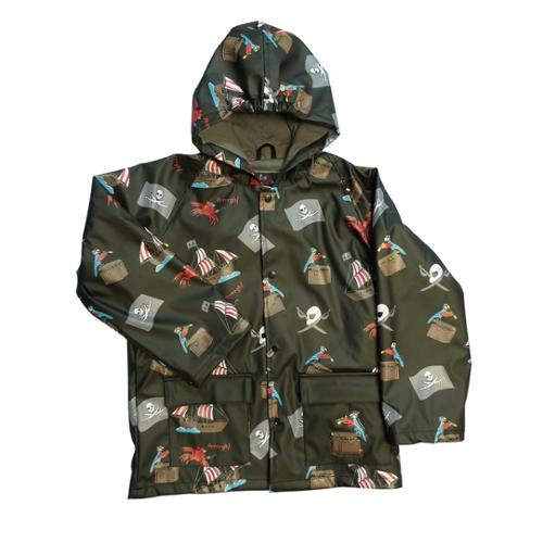 Little Boys Black Pirates Rain Coat 4T