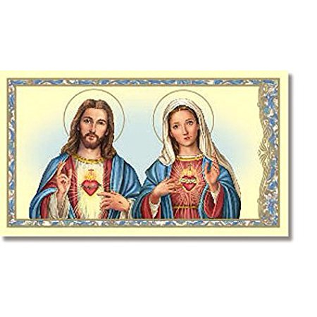 Religious Catholic Gift Jesus Christ Blessed Virgin Mary Madonna Prayer to the Sacred and the Immaculate Heart Holy Card, Cardstock -- 2 3/8 x 4 1/8