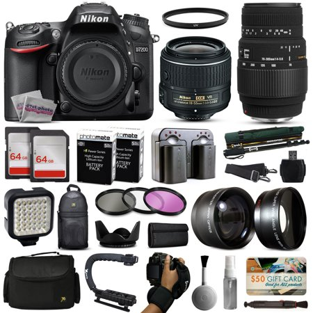 Nikon D7200 DSLR Digital Camera with 18-55mm VR II + Sigma 70-300mm Lens + 128GB Memory + 2 Batteries + Charger + LED Video Light + Backpack + Case + Filters + Auxiliary Lenses + $50 Gift Card + More!