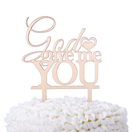 God Gave Me You Wooden Wedding Cake Topper Christian Religious Rustic Wood Decoration (God Gave Me You) for $<!---->
