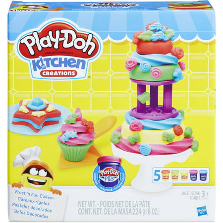 Play-Doh Kitchen Creations Frost 'N Fun Cakes Food Set with 5 Cans of Dough - Play Doh Fun