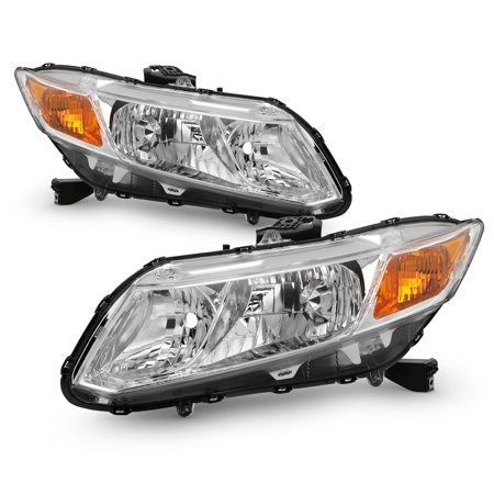 For 2012 2013 14 15 Honda Civic Sedan Coupe Model Chrome Headlights LH+RH Pair