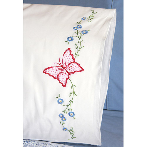 "Fairway Needlecraft Red Butterfly Stamped Perle Edge Pillowcase Pair, 30"" x 20"""