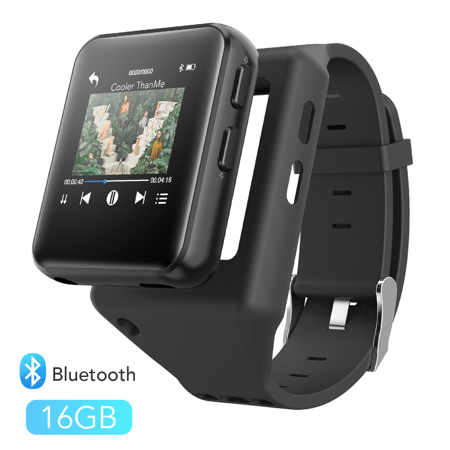 AGPTEK Bluetooth MP3 Watch with Touch Screen, 16GB Clip MP3 Player Support Recording, FM Radio, Video and Stopwatch (Mp3 Video Player)