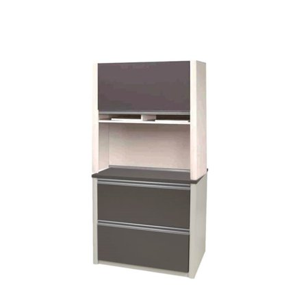 2 Piece Lateral File Cabinet and Hutch in Slate Gray and Sandstone ()