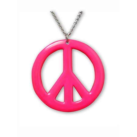 Hot Pink Peace Sign Pendant Necklace Enamel on Pewter Cosplay Jewelry by Real Metal Jewelry