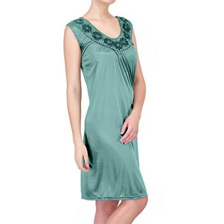 Women's Satin Silk Sleeveless Nightgown By EZI Sleeve Silk Gown