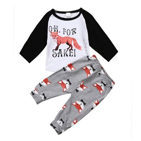 Fox Newborn Toddler Infant Baby Boy Girl Clothes T-shirt Tops+Pants Outfits Set 0-6 Months - Fox Outfit