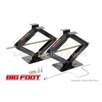 "Set of 2 BIGFOOT 5000 lb 24"" RV Trailer Stabilizer Leveling Scissor Jacks w/handle & 2 Power Drill Sockets & hareware-26044"