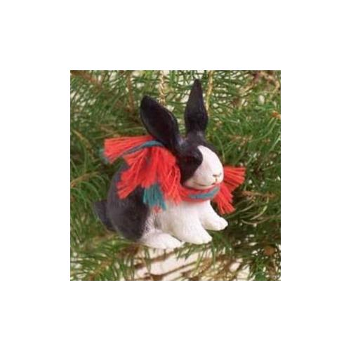 Black and White Rabbit Christmas Ornament RB29