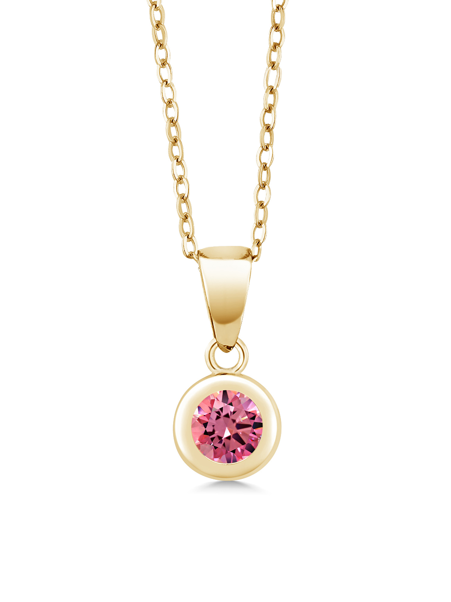 18K Yellow Gold Plated Silver Pendant Set with Fancy Pink Zirconia from Swarovski by