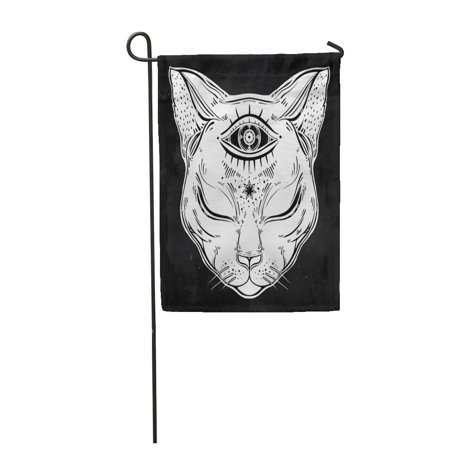 LADDKE Black Cat Head Portrait Moon and Three Eyes Third is Open for Halloween Tattoo Garden Flag Decorative Flag House Banner 12x18 inch - Cat Eyes For Halloween