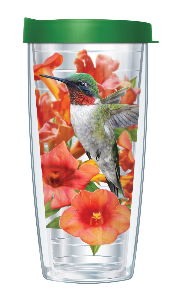 Clear Hummingbird Wrap Traveler 16 Oz Tumbler Cup with Green Lid by