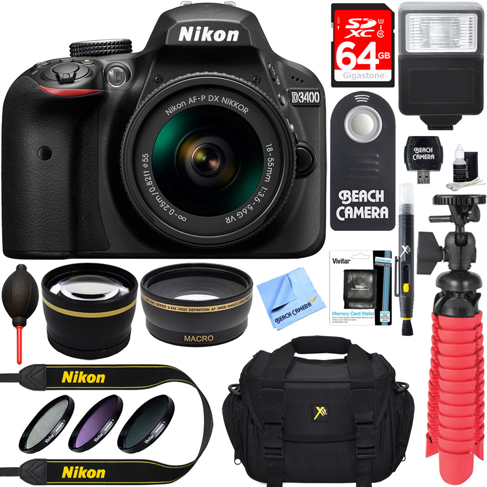 Nikon D3400 24.2 MP DSLR Camera + AF-P DX 18-55mm VR NIKKOR Lens Kit + Accessory Bundle 64GB SDXC Memory + SLR Photo Bag + Wide Angle Lens + 2x Telephoto Lens + Flash + Remote + Tripod+Filters (Black