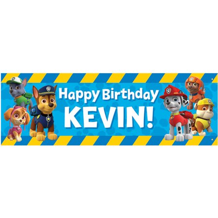 personalized paw patrol pawesome birthday banner 72 l x 24 w
