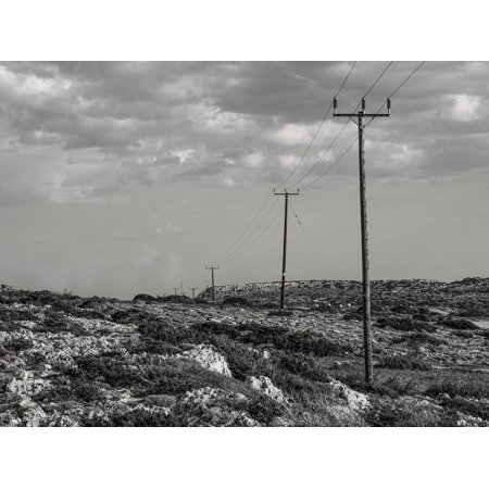 Canvas Print Connect Pole Telephone Wire Communication Line Stretched Canvas 32 x 24