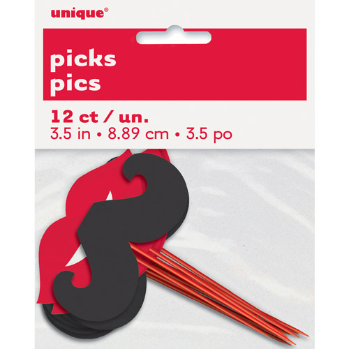 Lips and Mustache Cupcake Picks, 12-Count