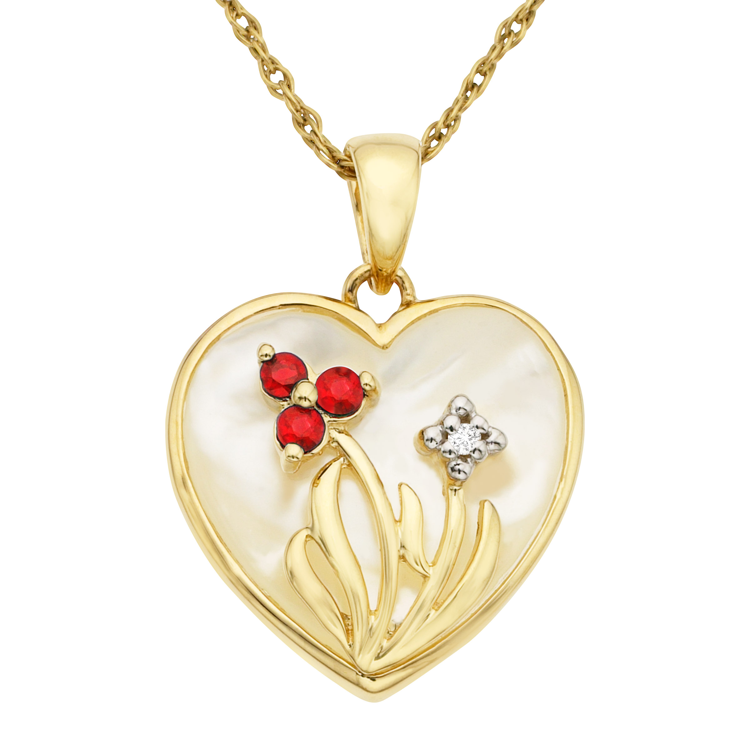 Natural Mother-of-Pearl Heart Pendant Necklace with Rubies and Diamonds in 10kt Gold by Richline Group