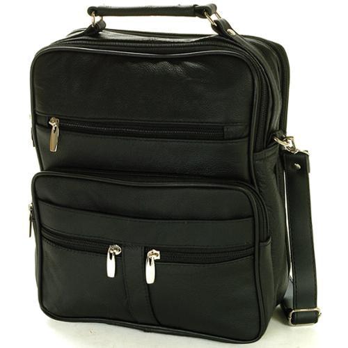 Leather Travel Bag Multipurpose Organizer Handbag Adjustable Strap Camera Tote Black One Size