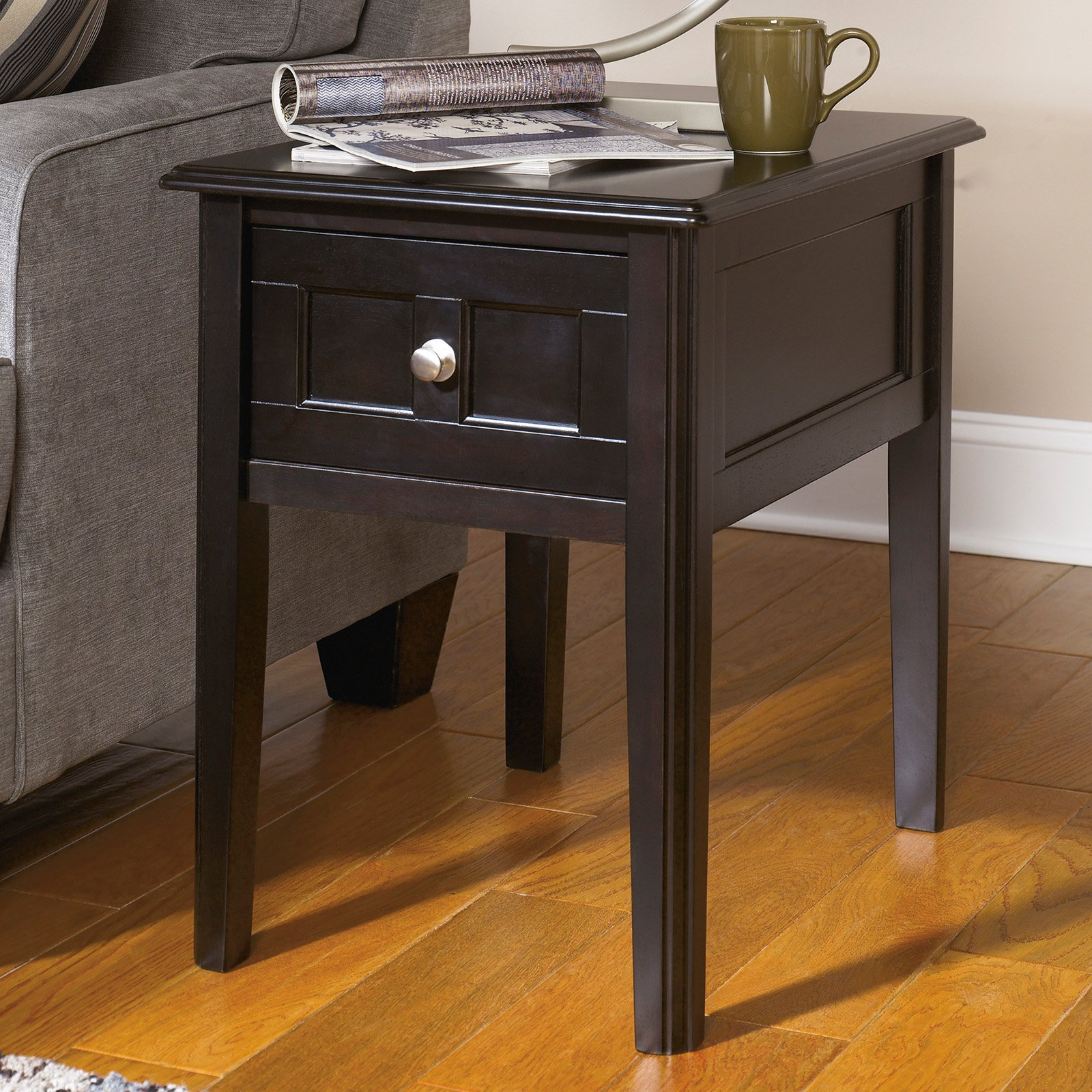 Signature Design By Ashley Henning Espresso Chair Side End Table