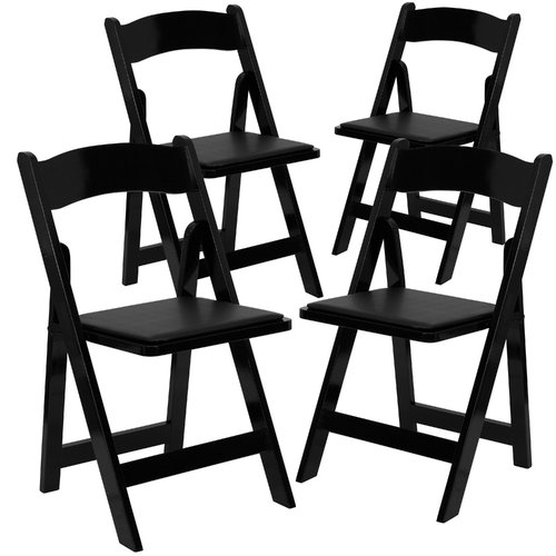 Flash Furniture 4-Pack HERCULES Series Wood Folding Chair with Vinyl Padded Seat, Multiple Colors