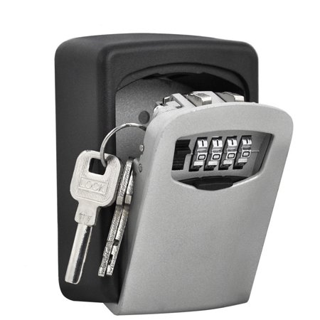 Wall Mount Key Lock Box with 4 Digit Combination,Made of Weather Resistant Steel Permanent Key Safe Storage Box Hold up to 5 Keys for Indoors or Outdoors