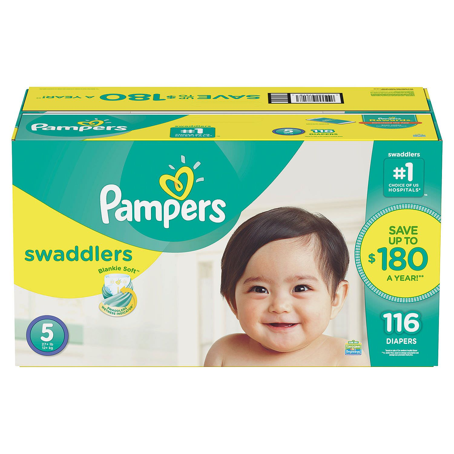 Pampers Swaddlers Diapers Size 5 -116 ct. (27+ lb.)