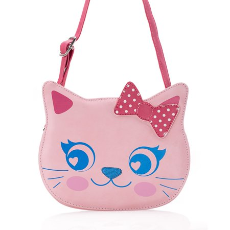 Ava & Kings Little Girl PU Faux Leather Purse Cute Animal Face Designs - High Quality Messenger Crossbody or Shoulder Bag for Kids, Teens, Toddlers - Various Handbag Styles ()