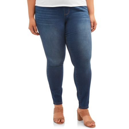 Terra & Sky Women's Plus Size Terra & Sky Pull on Knit Denim Pant (Quilted Womens Jeans)