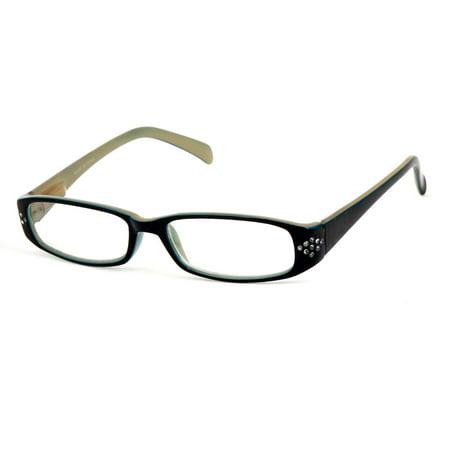 Ladies Men Green Black Plastic Frame Arm Rectangle Clear Lens Plain (Name Brand Glasses For Men)