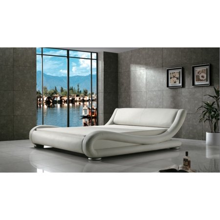 Greatime B1070 Contemporary Upholstered Platform Bed, Twin, White Gold Woven Platform