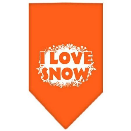 I Love Snow Screen Print Bandana Orange Small