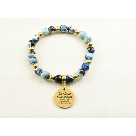 Genuine Agate Inspirational Bracelet - Blue - Too blessed