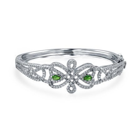 Bridal Celtic Love Knot Bangle Bracelet For Women White Pave Green CZ Rhodium Plated Safety Clasp 7 Inch