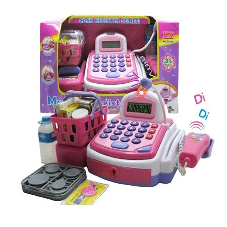 - Activity Learning Family Battery Operated Electronic Cash Register Toy Pretend Play Microphone, Scanner, Money and Credit Card, Groceries With Sound Pink