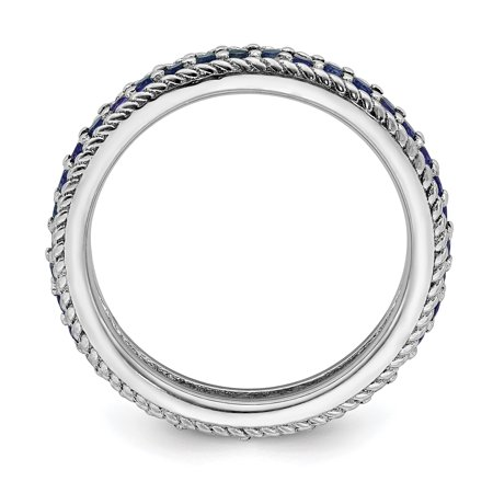 Sterling Silver Stackable Expressions Polished Cr. Sapphire Eternity Ring Size 5 - image 2 de 3