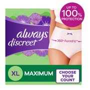 Always Discreet Incontinence Underwear, Max Protection, XL, 26 Ct