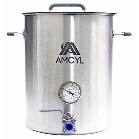 AMCYL 10 Gallon Stainless Steel Brew Kettle with Thermometer