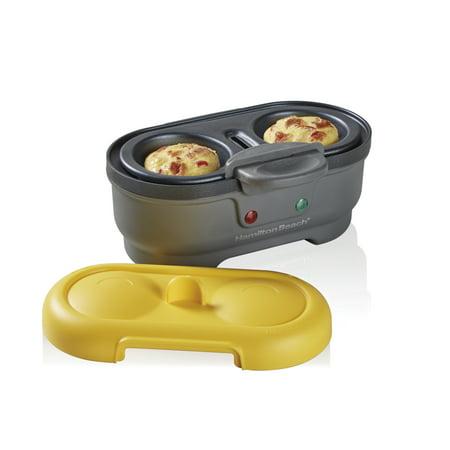 Hamilton Beach Egg Cooker, Egg Bites Maker & Poached Egg Maker, 2 Egg Capacity, Yellow Lid Model 25505