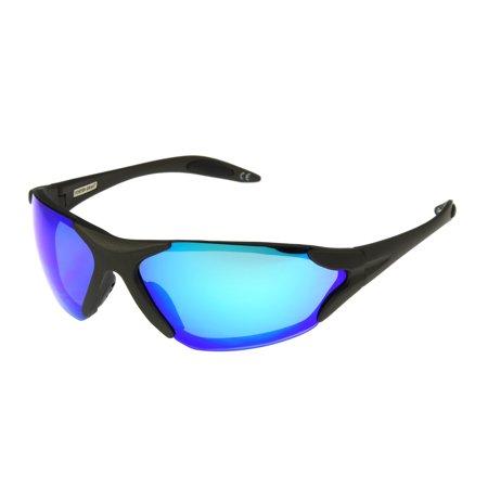 Foster Grant Men's Gray Mirrored Wrap Sunglasses JJ05