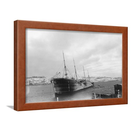 Belgian Vessel Offshore after Halifax Explosion Framed Print Wall Art
